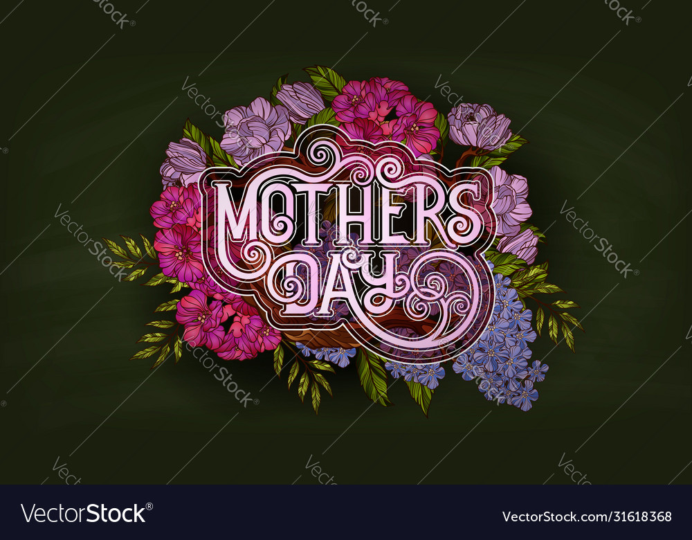 Happy mothers day retro style poster template