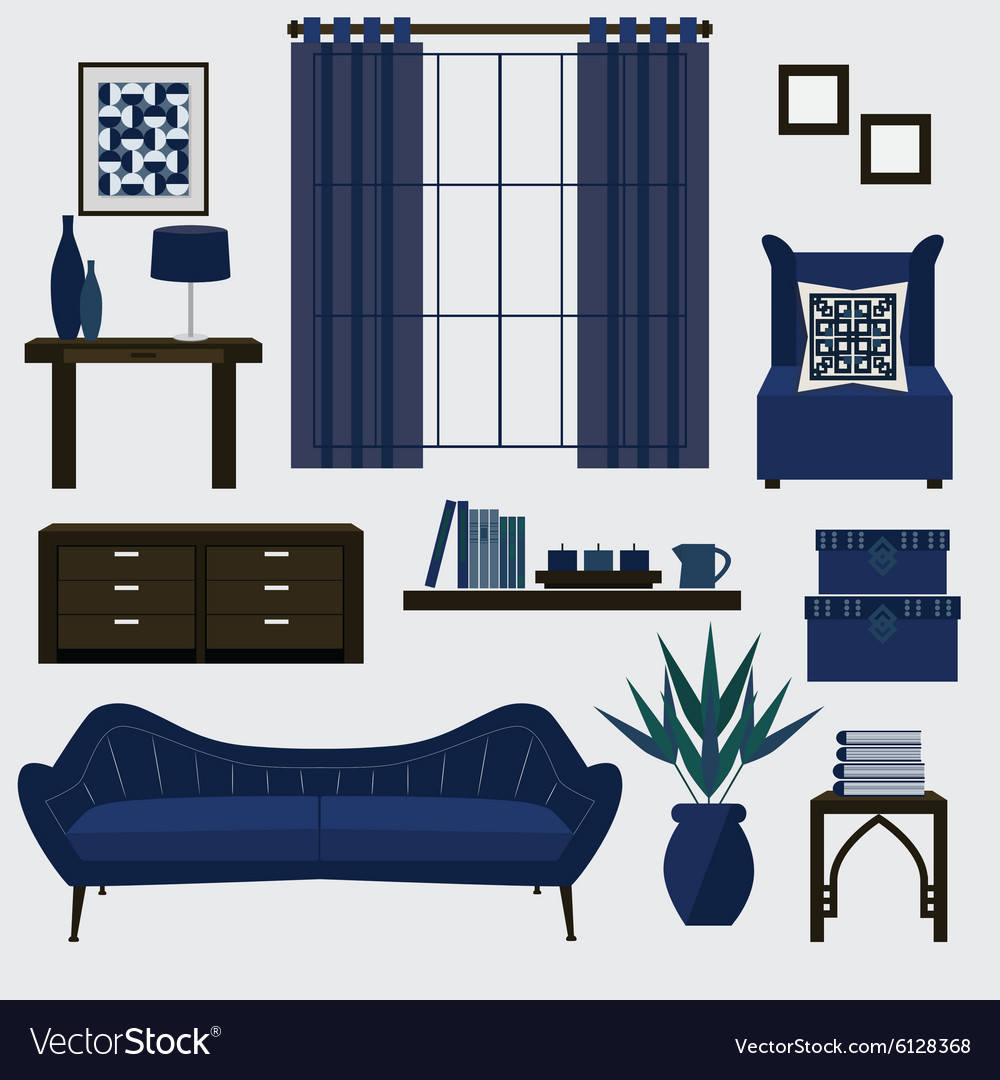 Navy blue furniture living room Blue Velvet Living Room Furniture And Accessories In Navy Blue Vector Image Aayaam Living Room Furniture And Accessories In Navy Blue