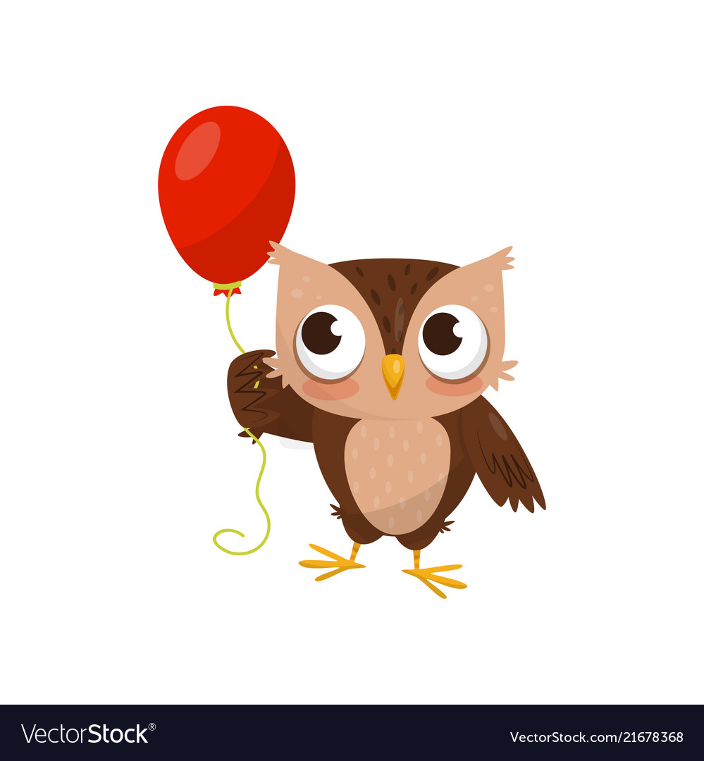 Lovely little owlet standing with red ballooon