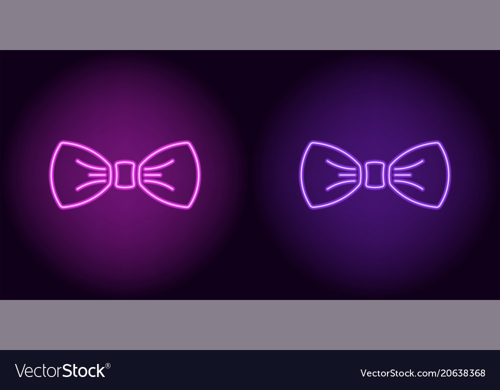 Neon bow tie in purple and violet color vector image