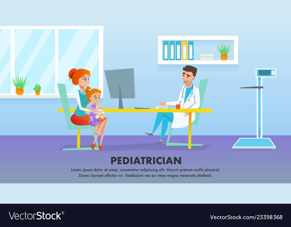 Pediatrician Medicine Healthcare Banner Royalty Free Vector