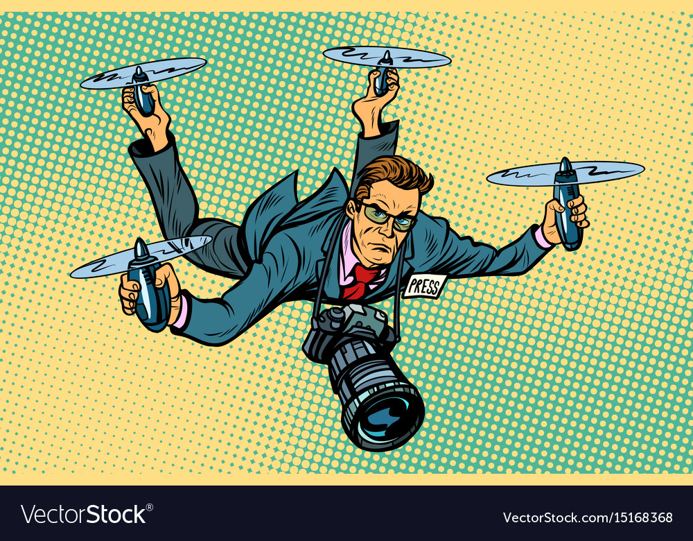People journalist quadcopter drone vector image