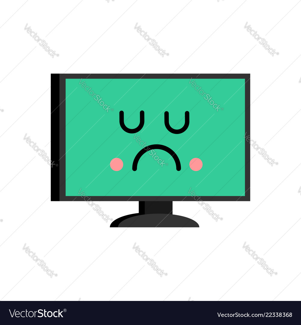 Happy computer emoji merry pc avatar royalty free vector.