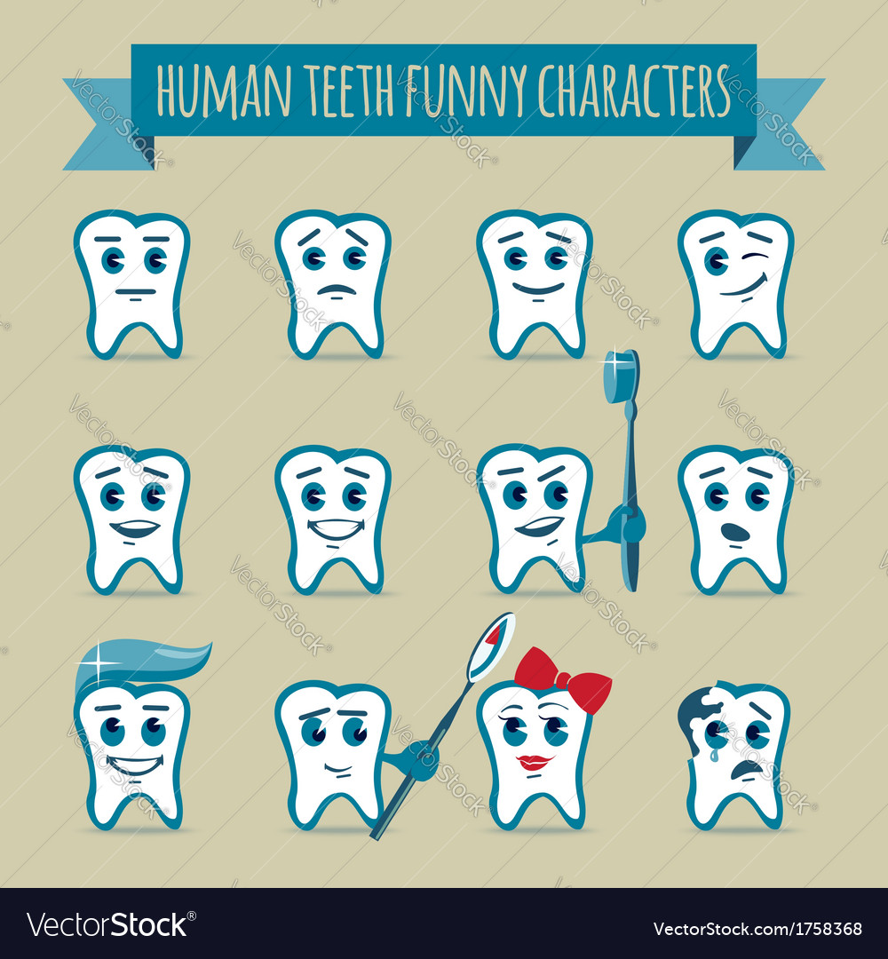 Set of human teeth funny characters vector image