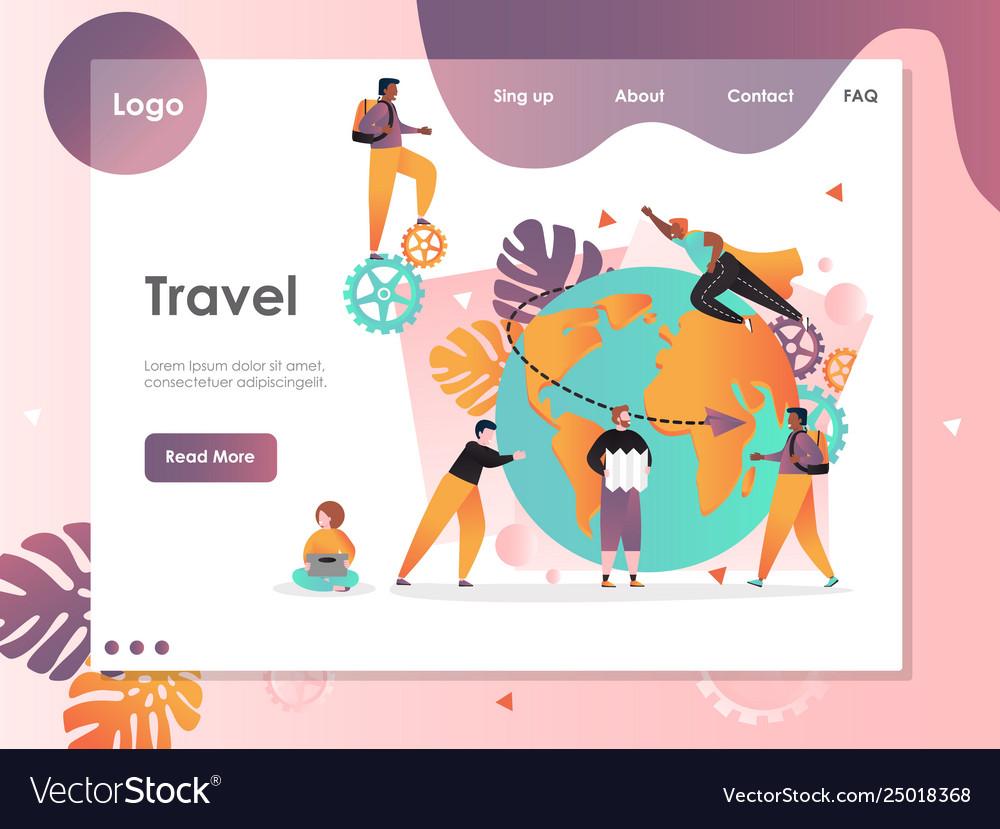 Travel website landing page design template
