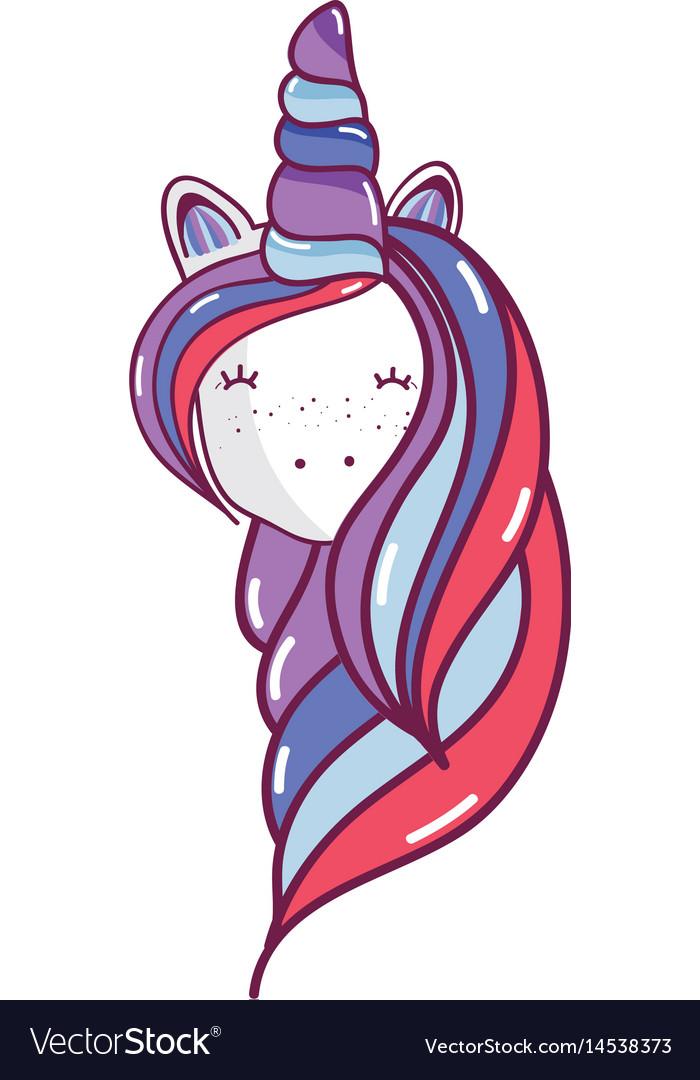 Beautiful head unicorn with long mane