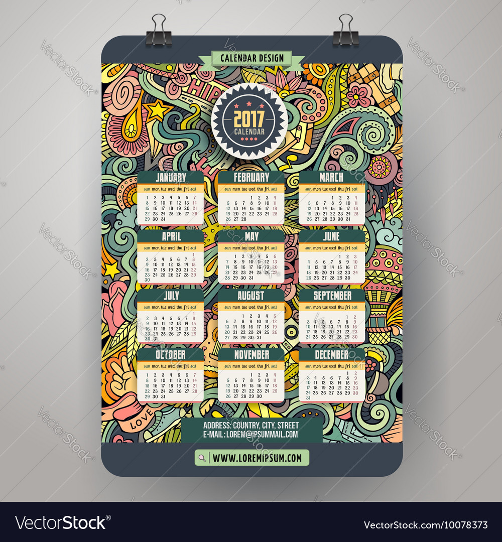 Cartoon doodles Hippie 2017 calendar template vector image