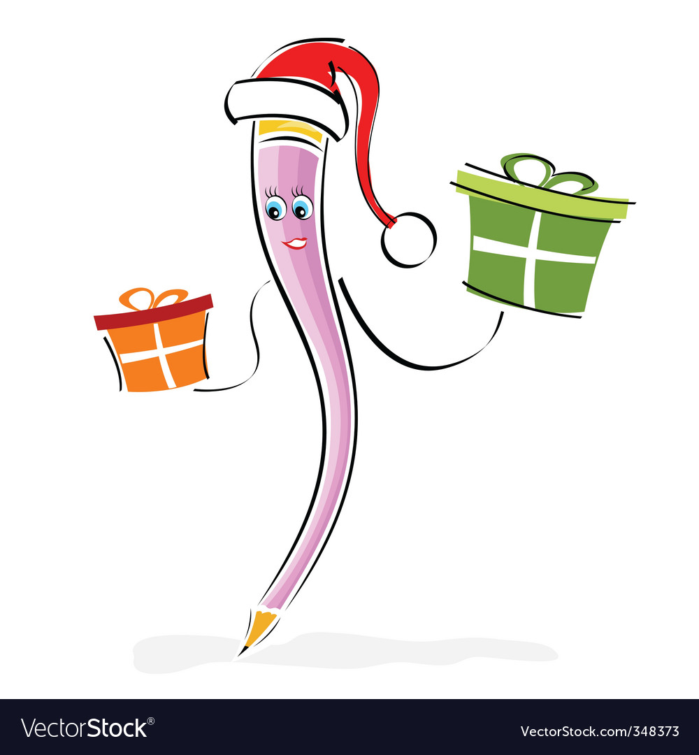 Cartoon pencil Santa