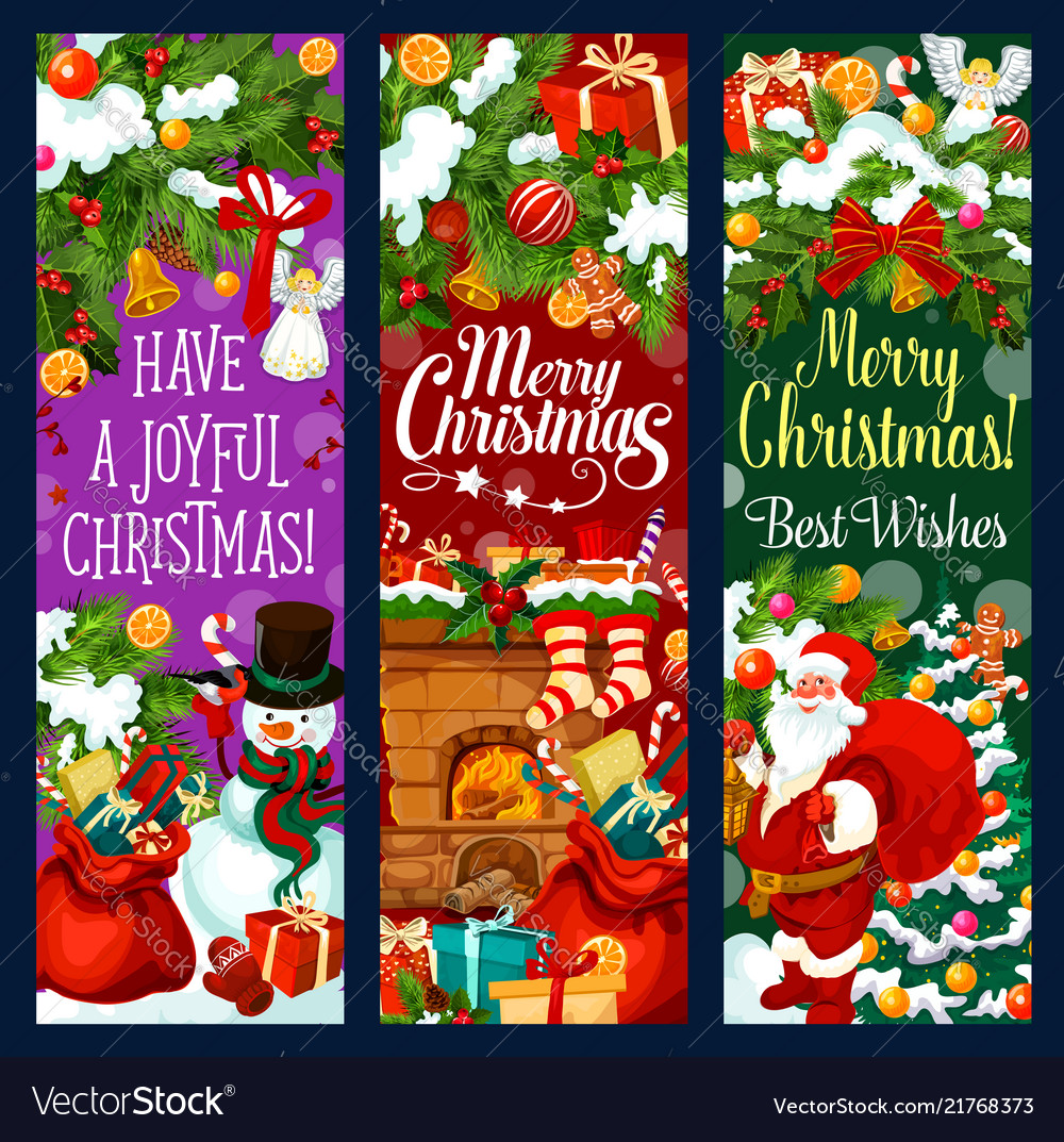 christmas banner with new year garland and gift vector image