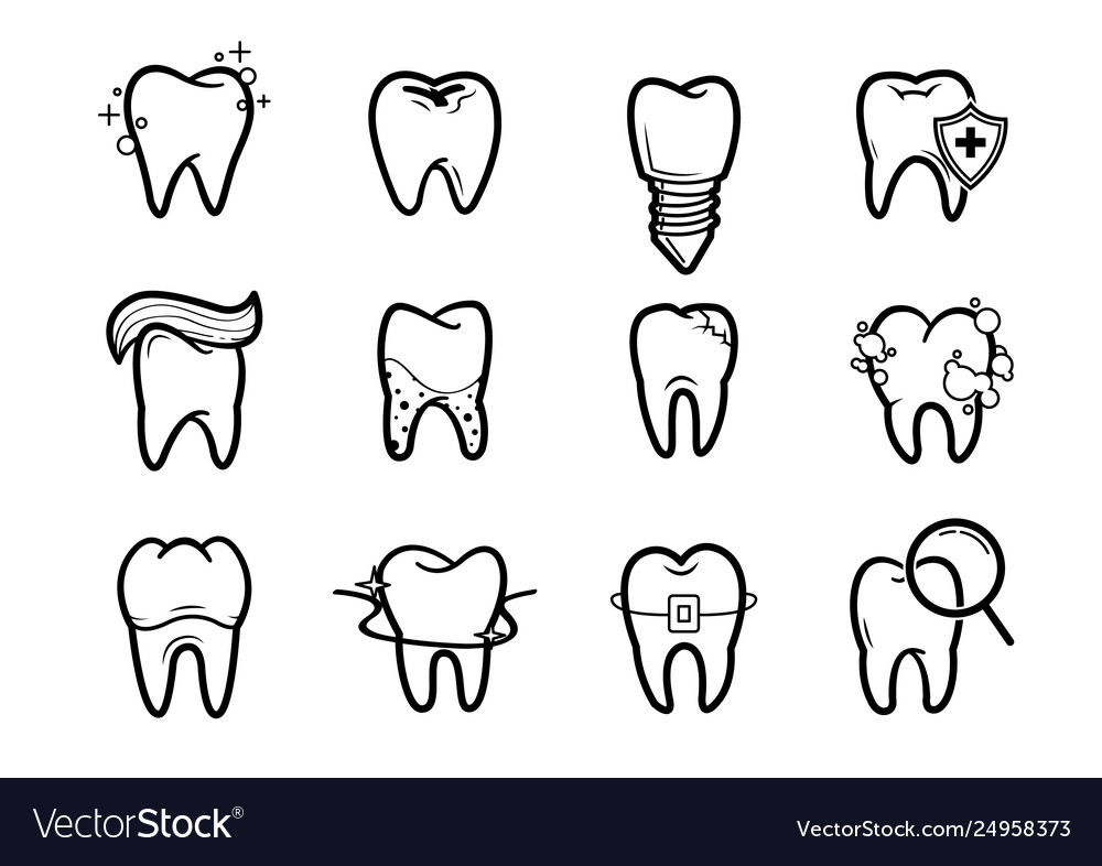 Dentistry outline icons set