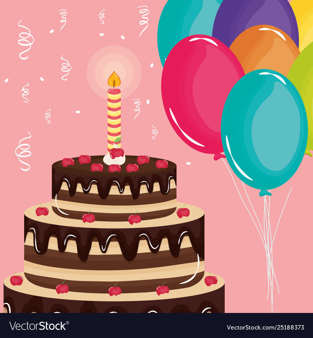 Happy Birthday Card Sweet Cake And Candle Vector Image