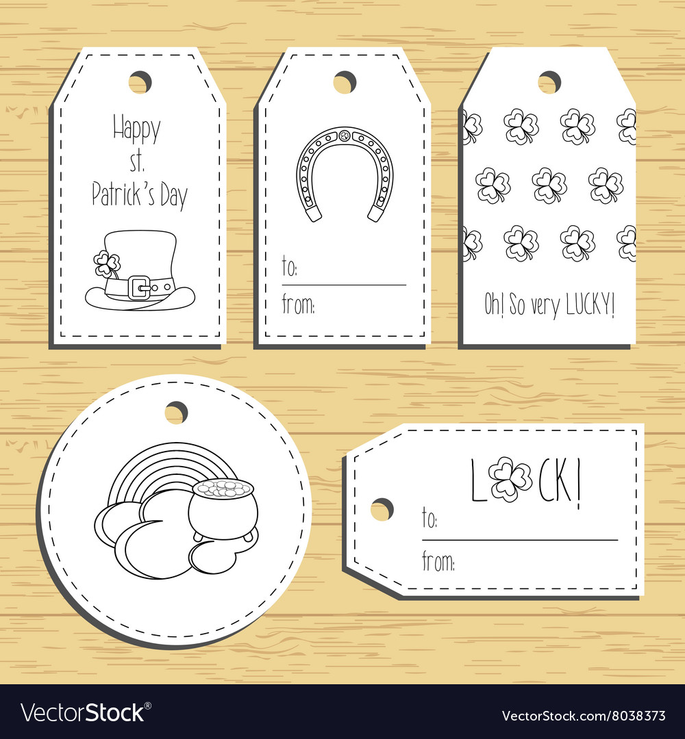 Happy st Patricks day gift tags with line icons vector image
