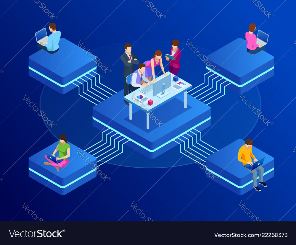 Isometric concept for business teamwork and