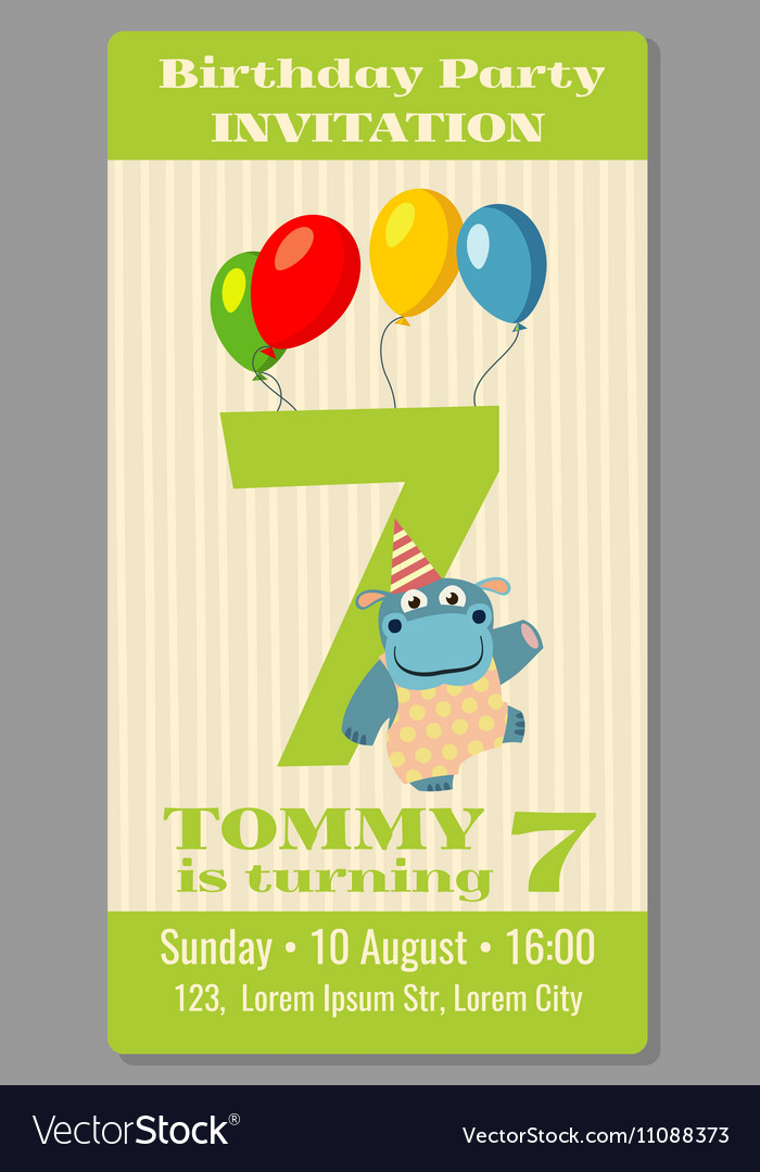 kids birthday party invitation card royalty free vector
