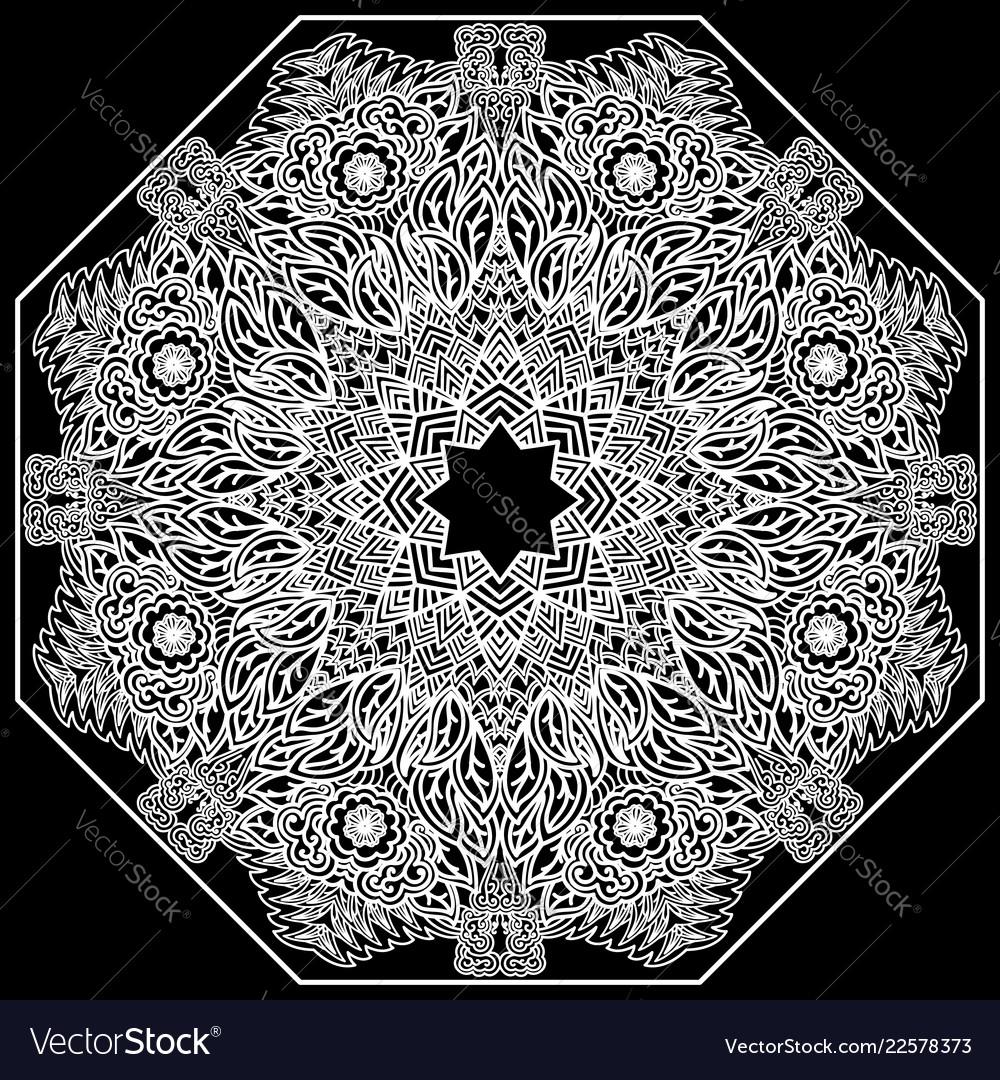 Lacy mandala on a black background mehndi flower