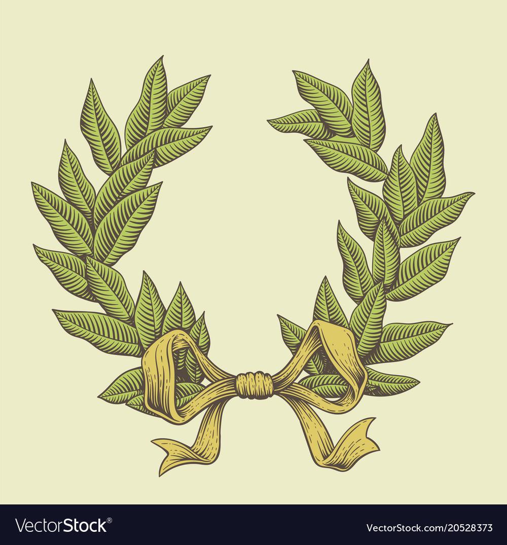 Line art laurel wreath