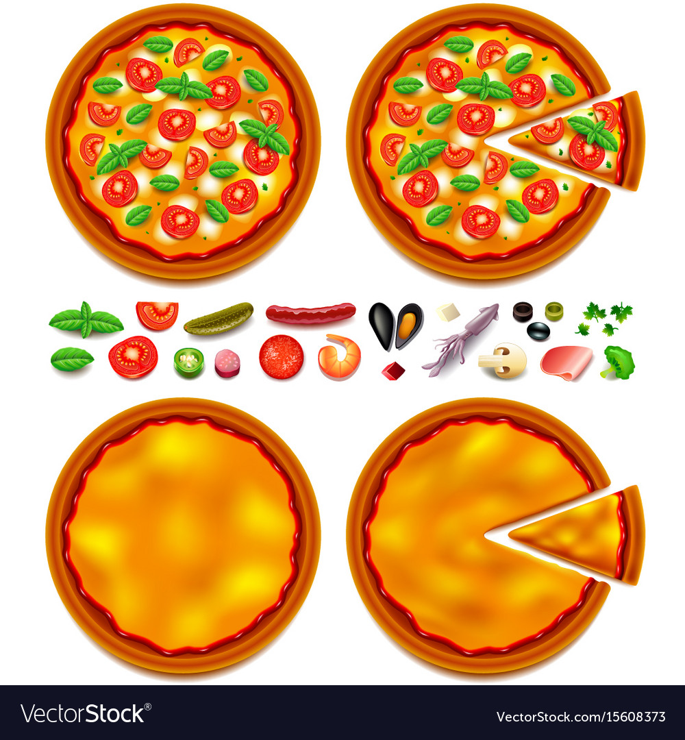 Pizza ingredients constructor top view