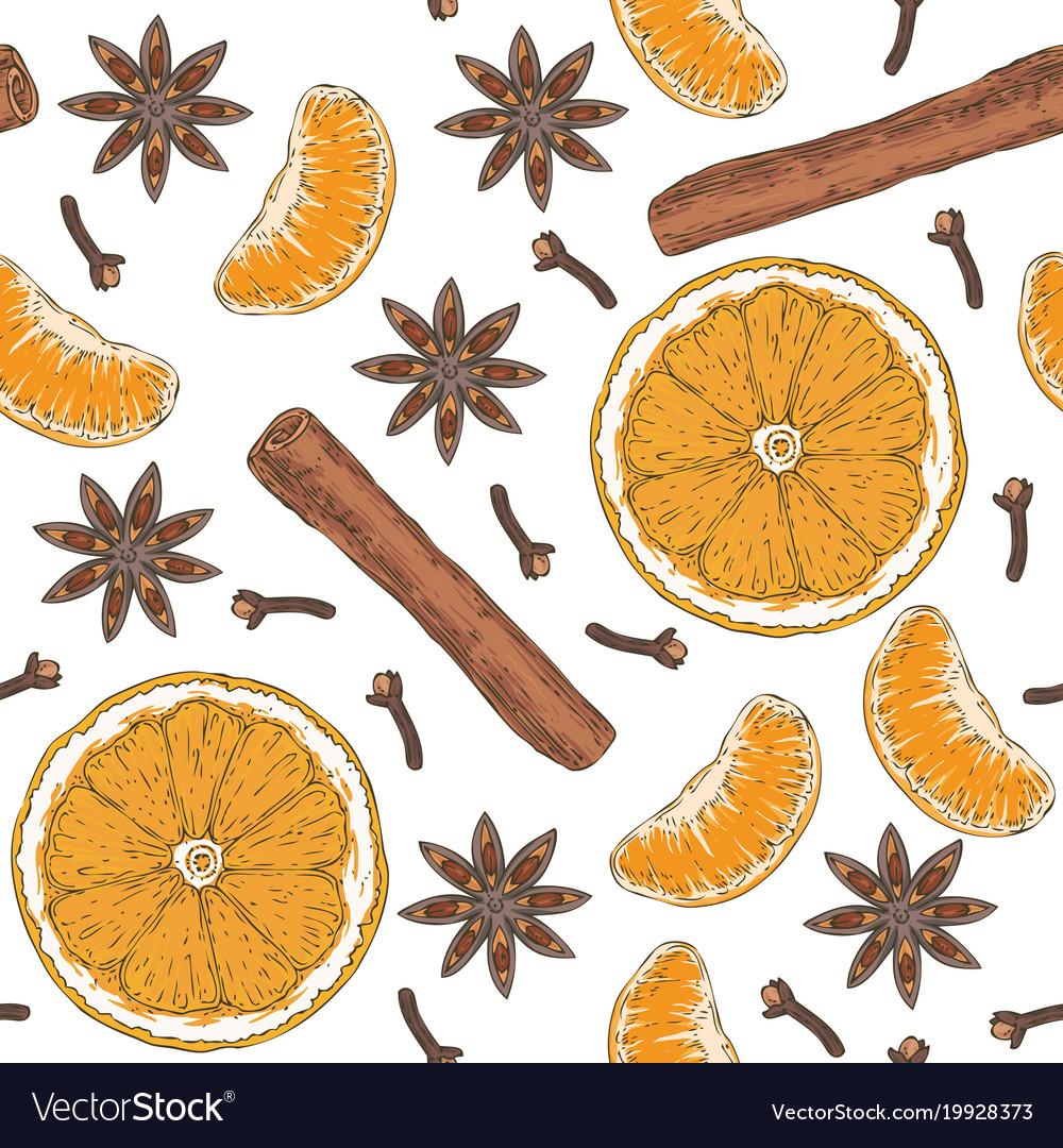 Seamless pattern orange slices tangerine spices