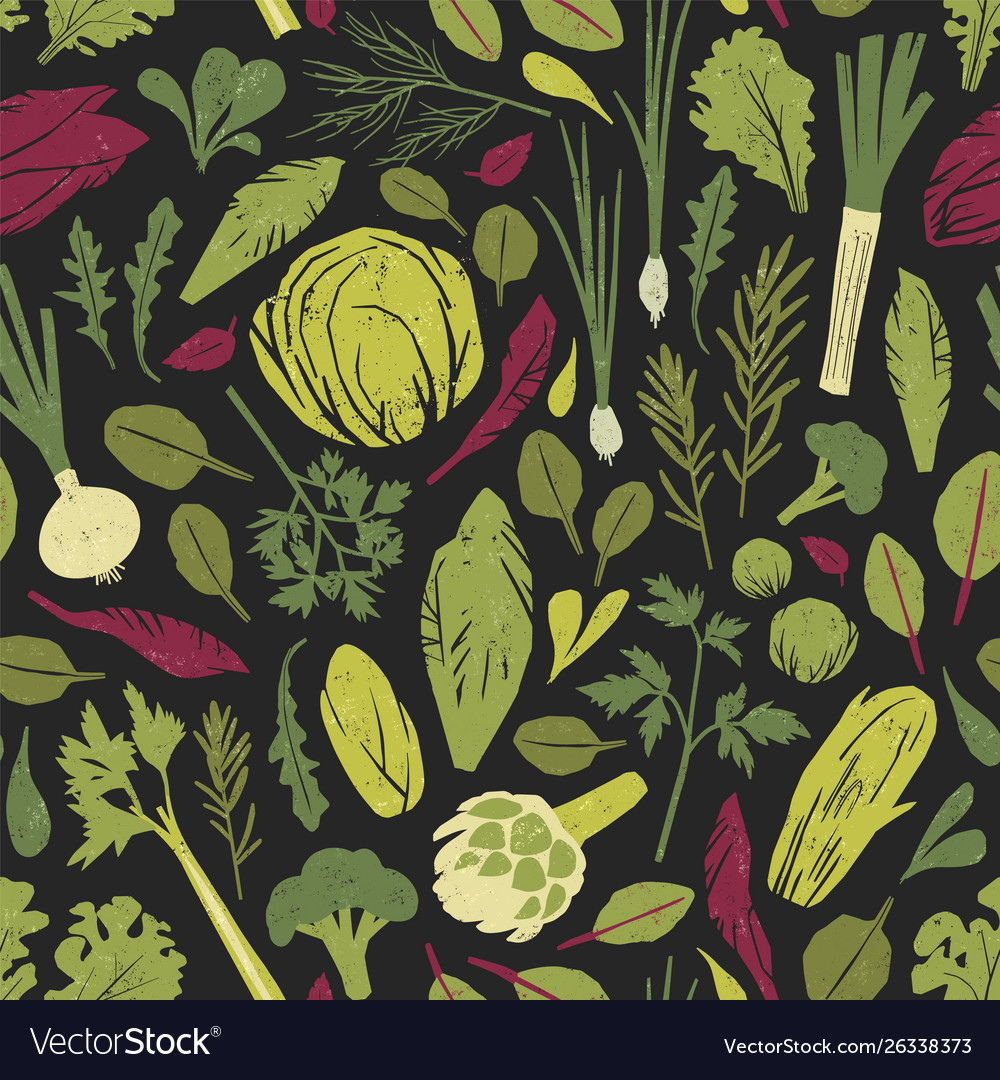 Seamless pattern with green vegetables salad