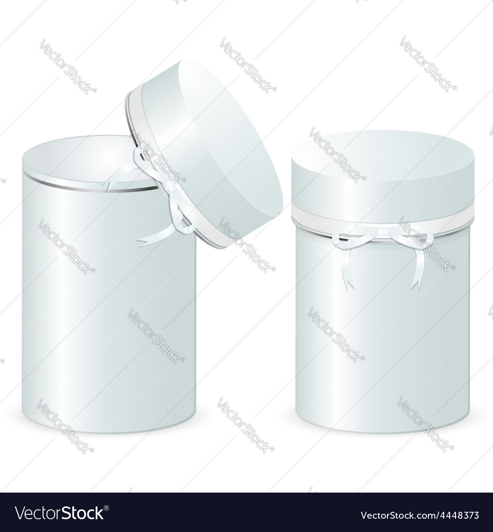 Set of two cylindrical gift boxes with a bow