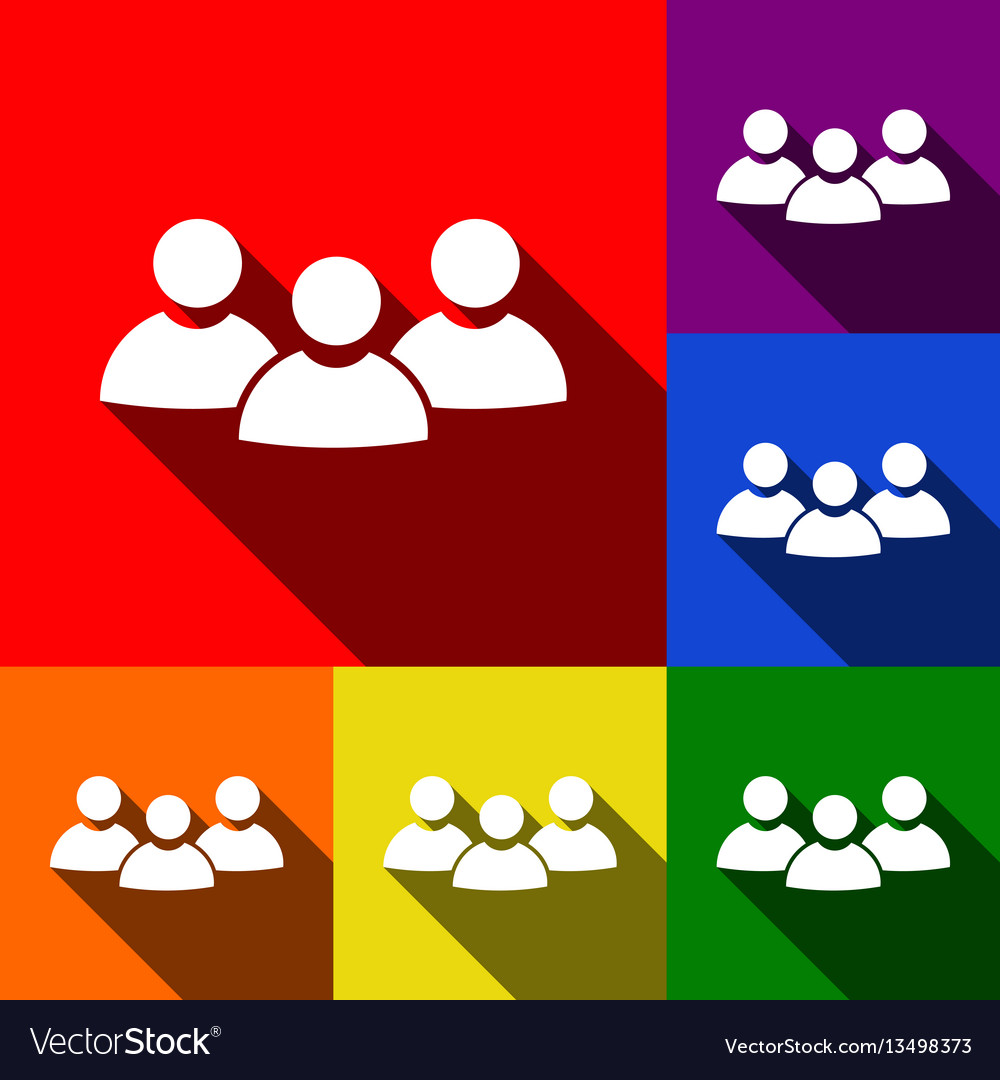 Team work sign set of icons with flat
