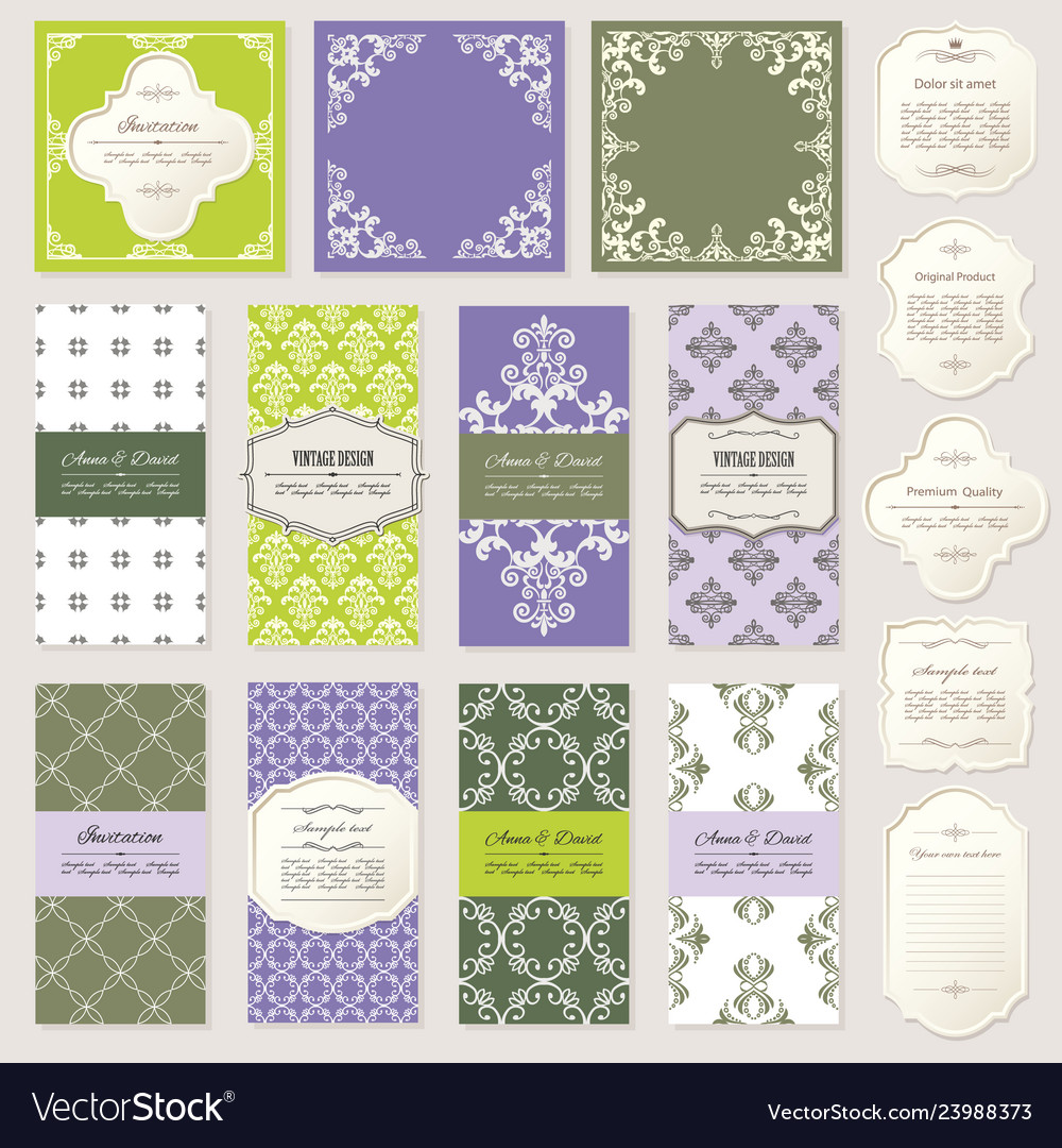 Templates cards and frames set