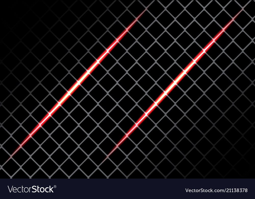 Abstract red light on square mesh design