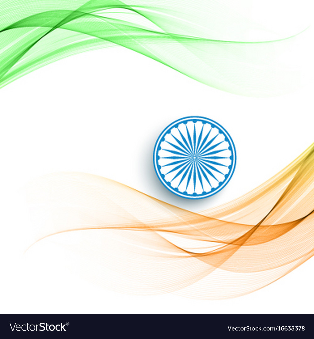 Beautiful wave style indian flag theme background Vector Image