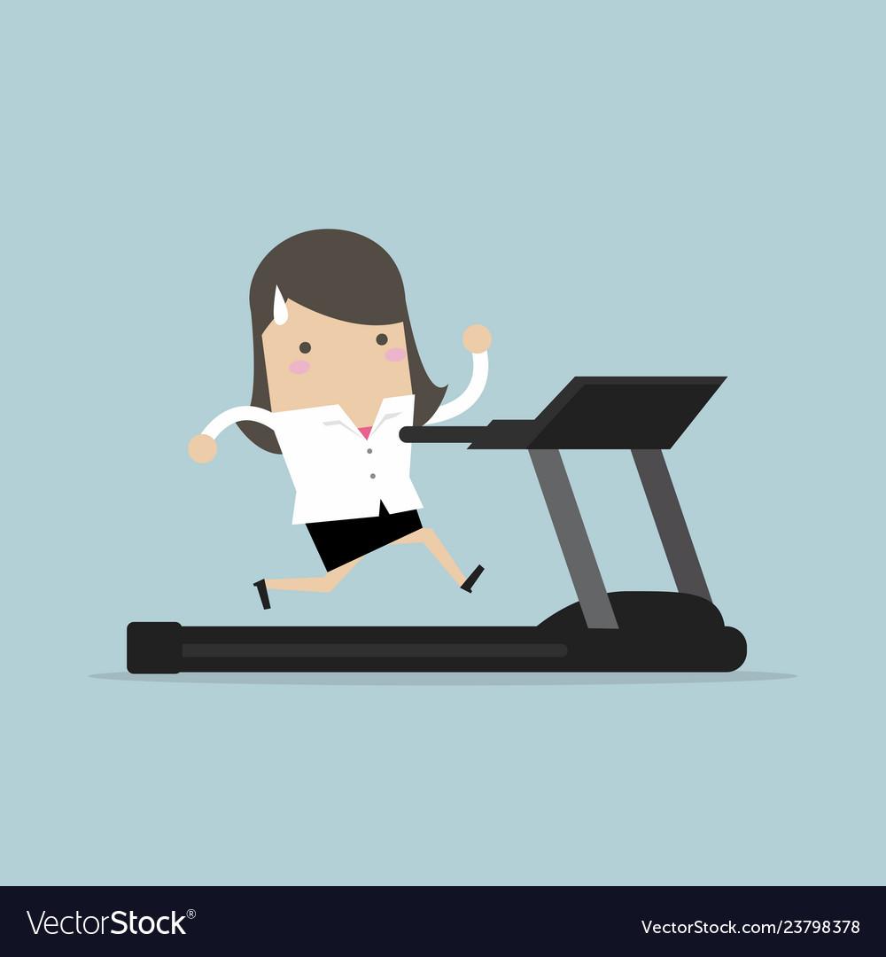 Businesswoman running on treadmill