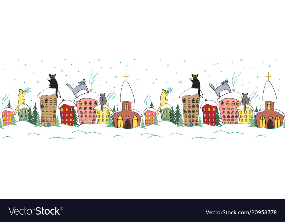 Cartoon christmas seamless design with cats in