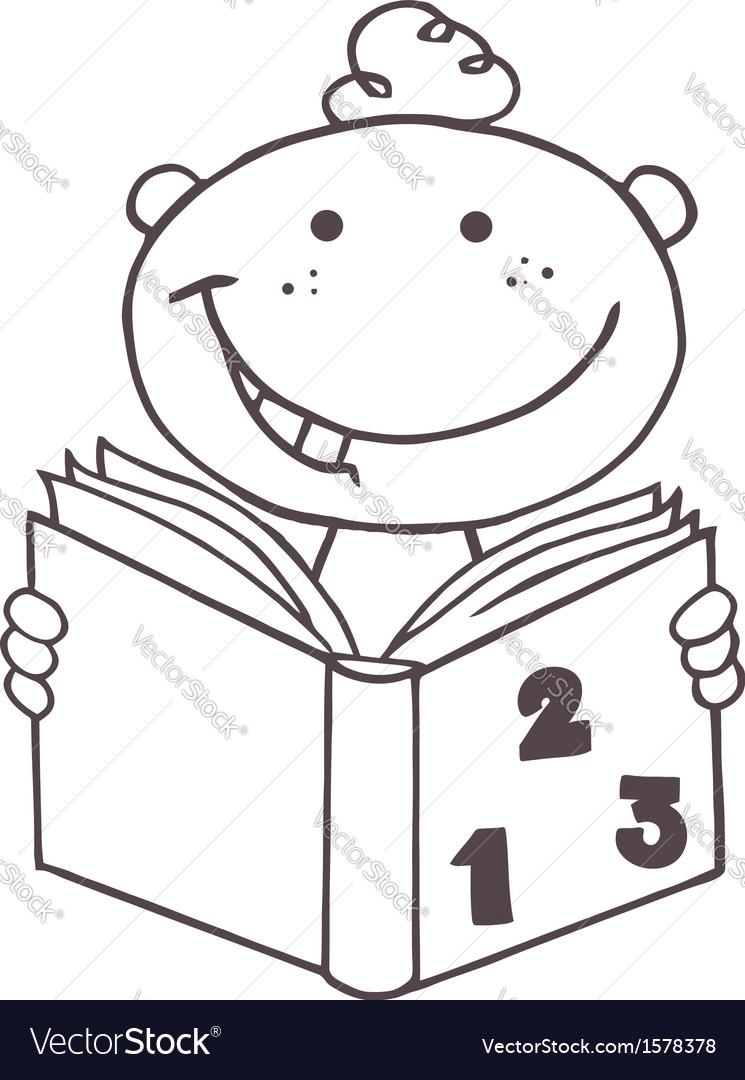 Child reading book cartoon