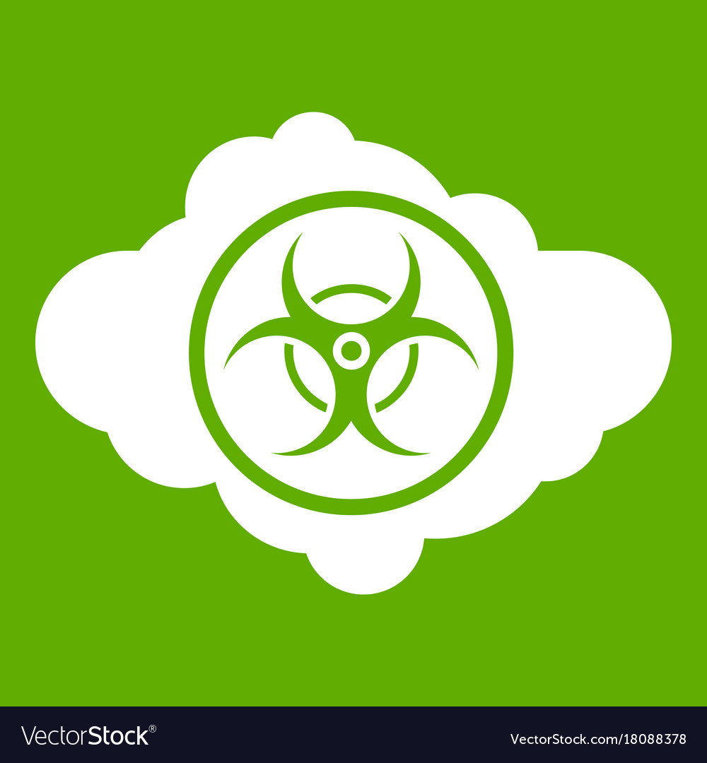 Cloud With Biohazard Symbol Icon Green Royalty Free Vector