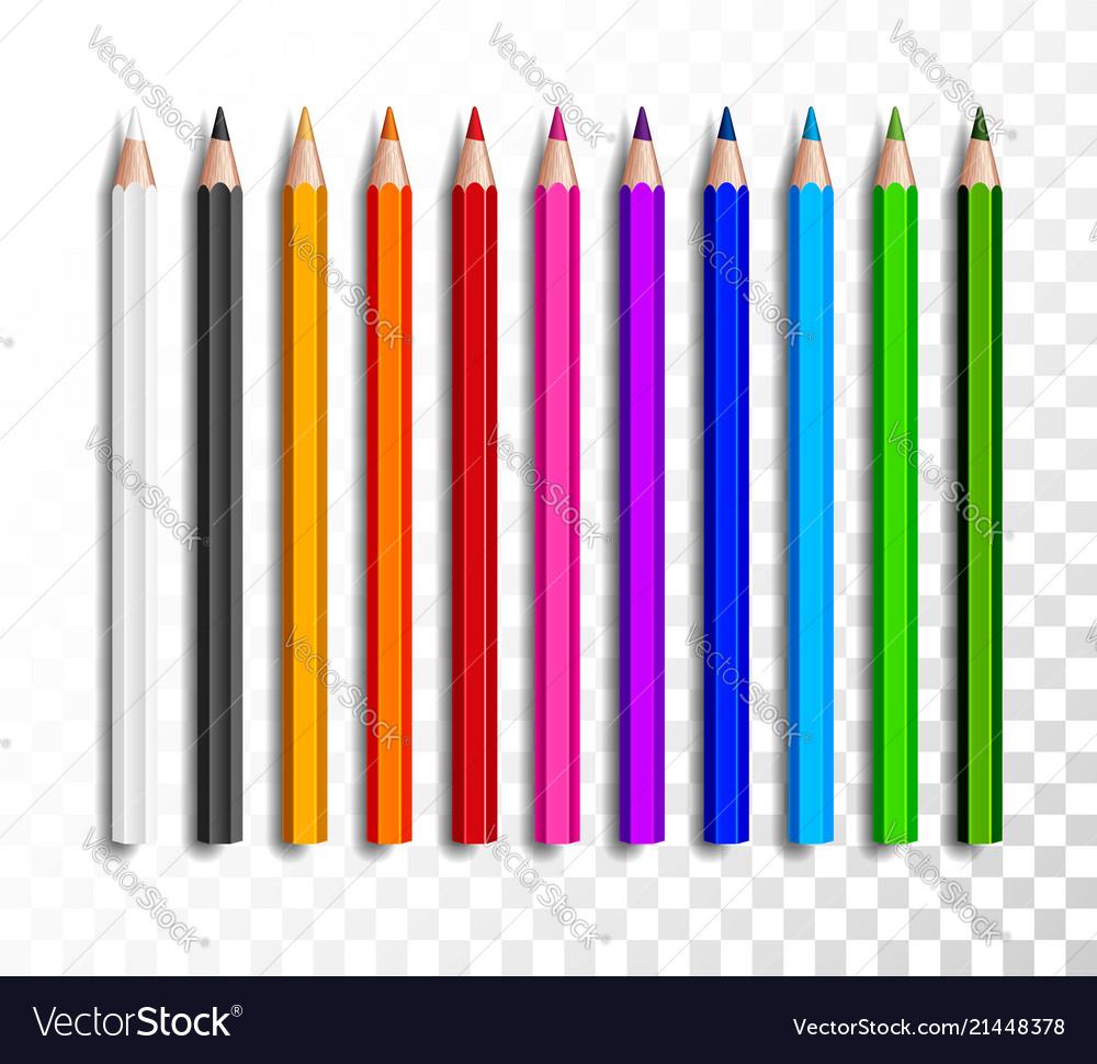 Design set realistic colored pencils on