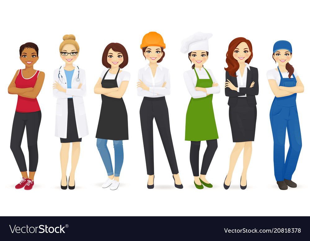 Different woman professions set vector image