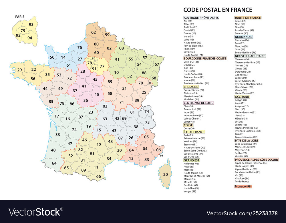 France 2 digit postcodes postal codes map Vector Image on