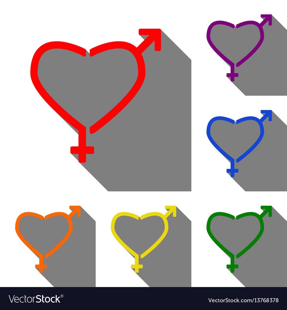 Gender signs in heart shape set of red orange