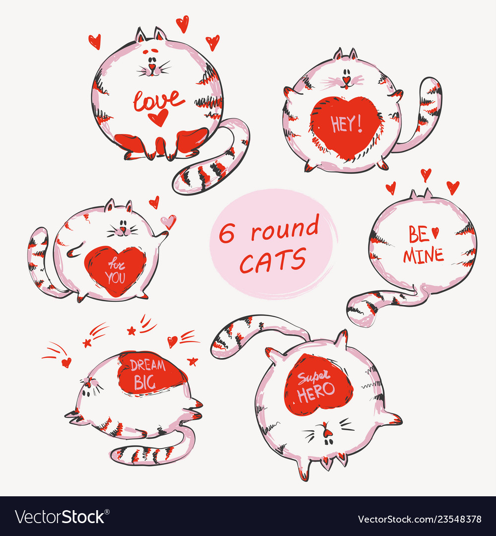 Hand drawn cats set with words cute doodle