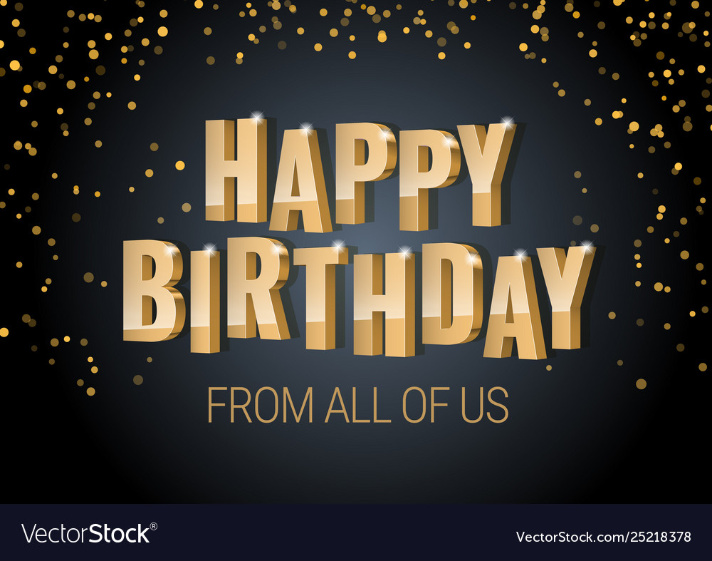 Happy birthday inscription gold letters