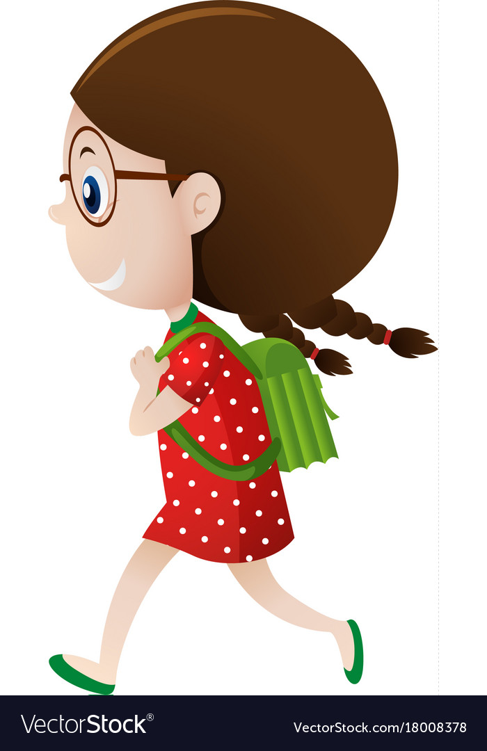 1780fe4482422 Little girl in red carrying green backpack Vector Image