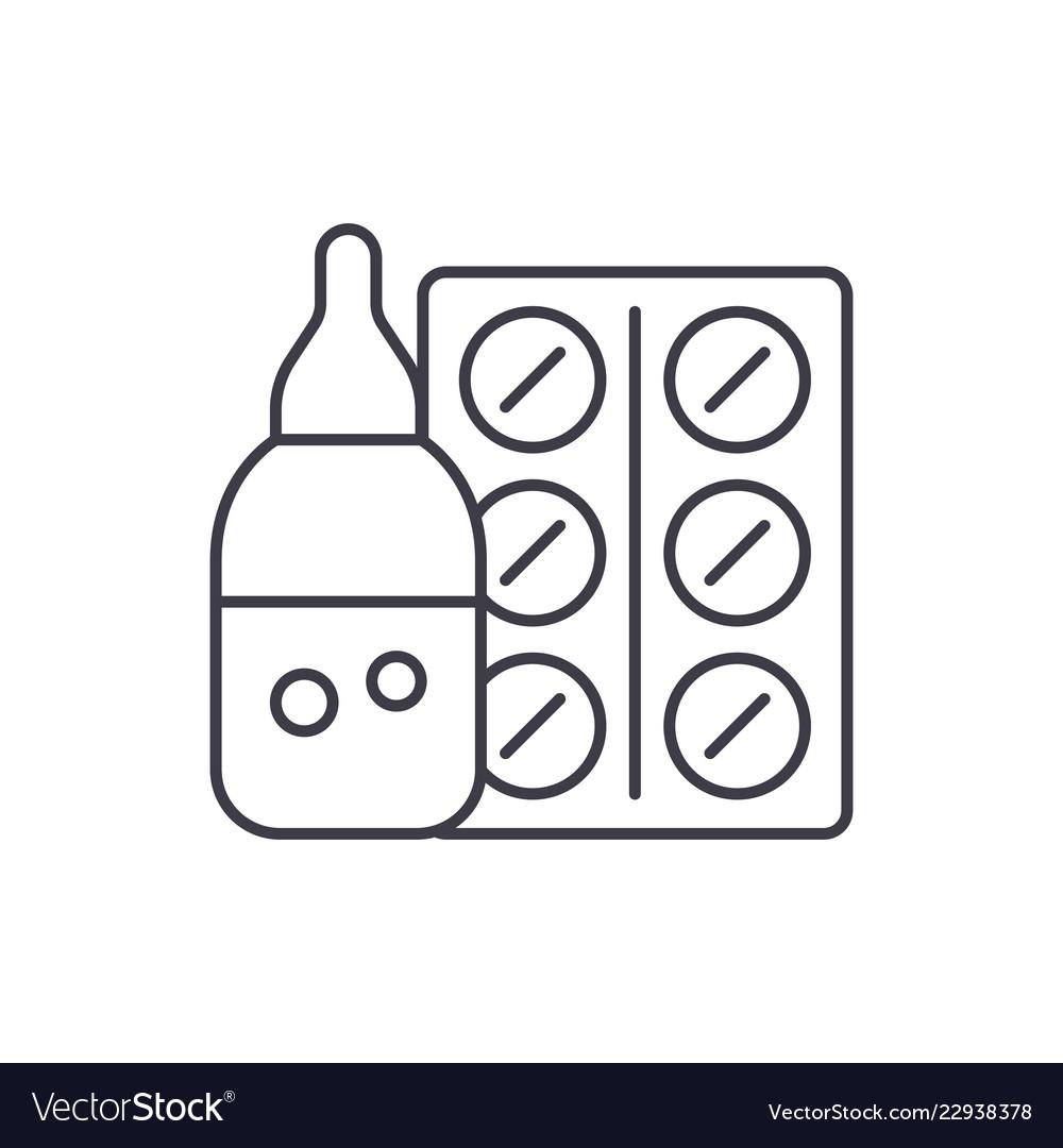 Medicines line icon concept medicines