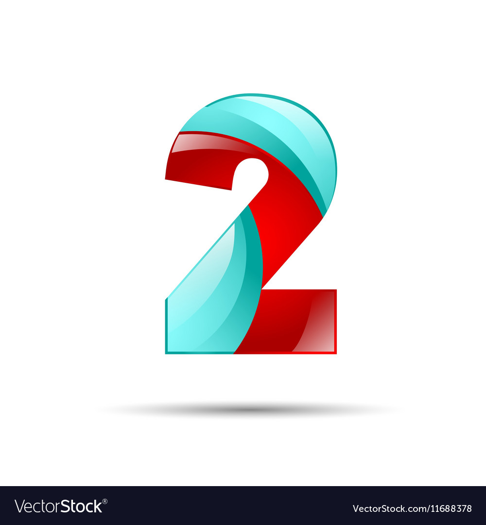 Number two 2 colorful 3d volume icon design for
