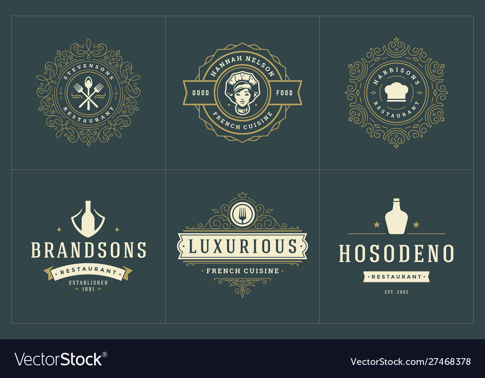 Restaurant logos templates set