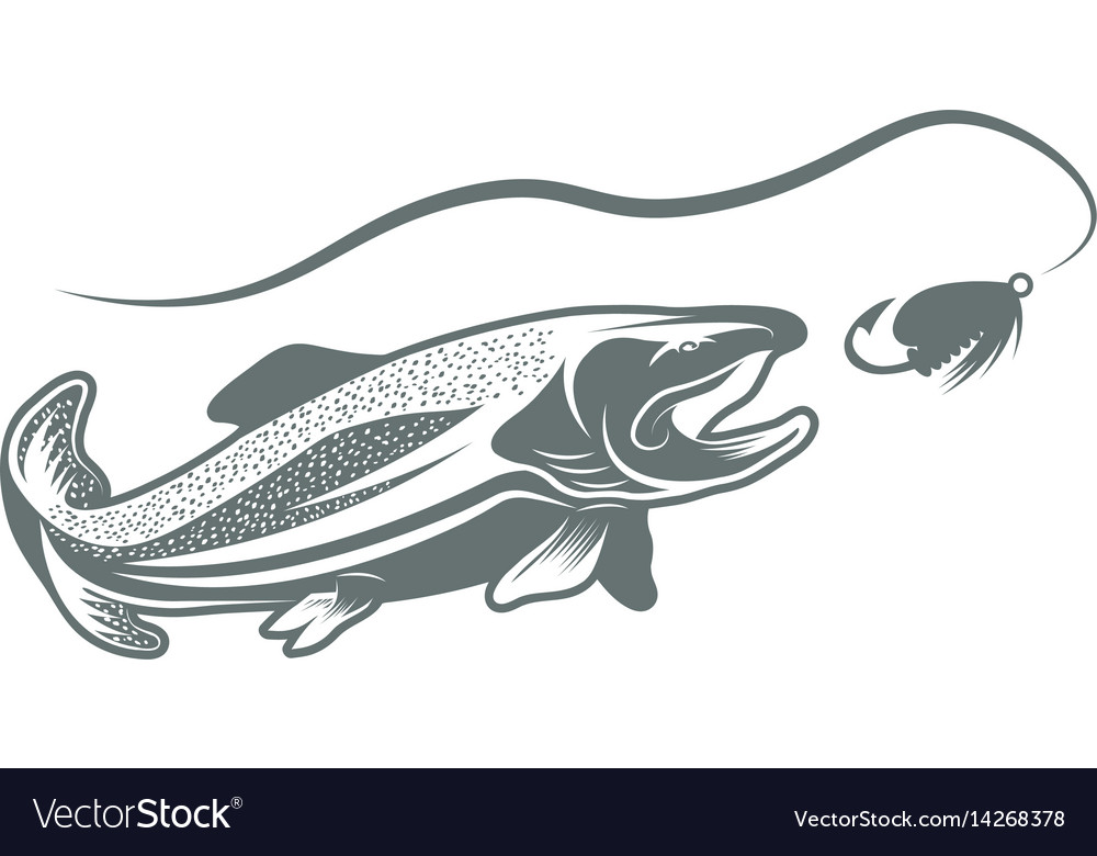Trout fish and lure design template vector image on VectorStock