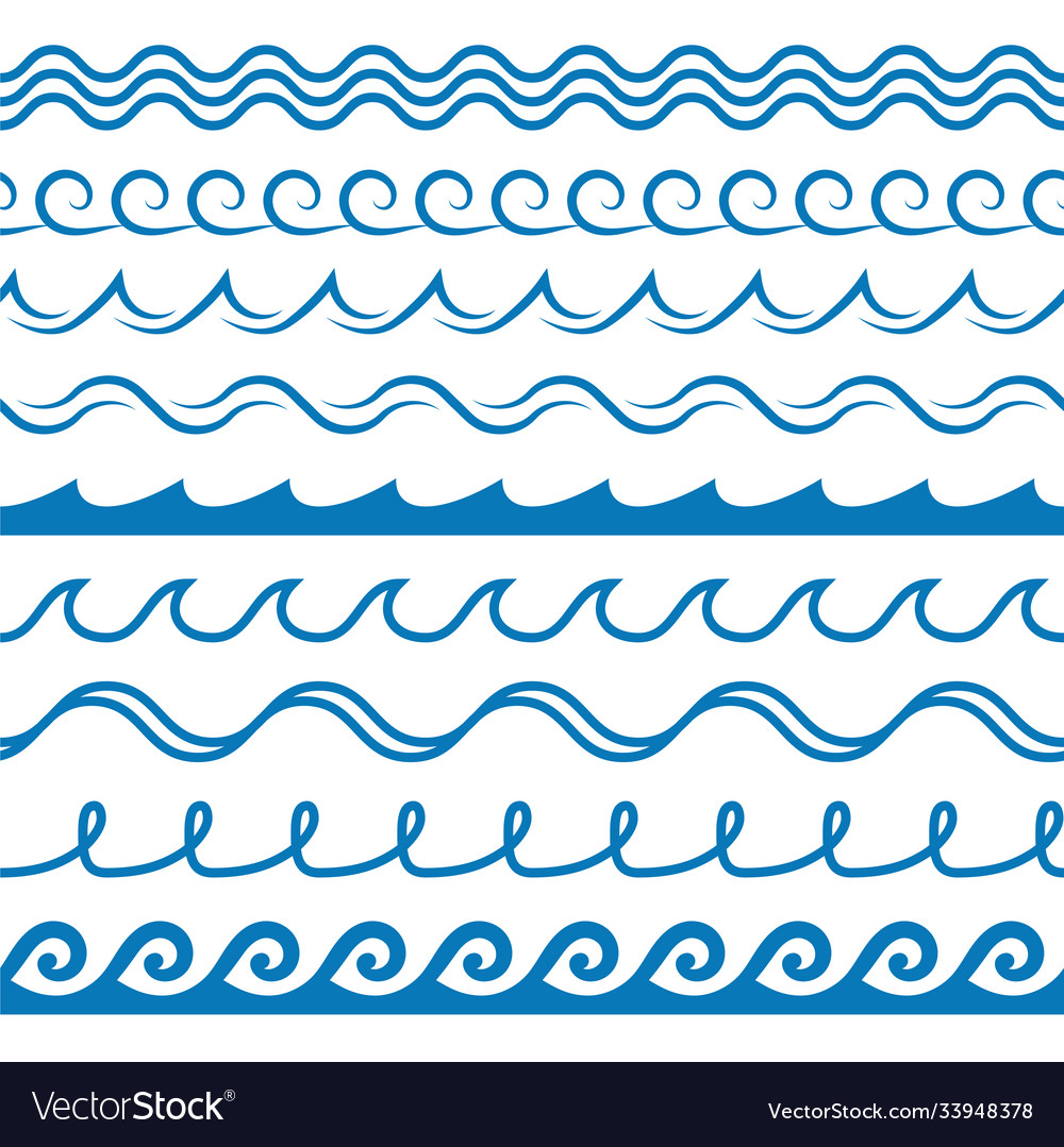 Wave frames seamless marine wavy pattern blue