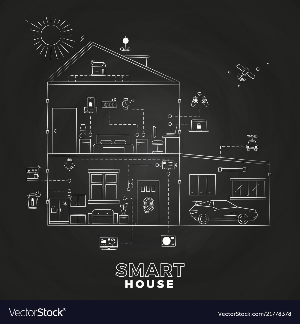White line smart home technology outline icons