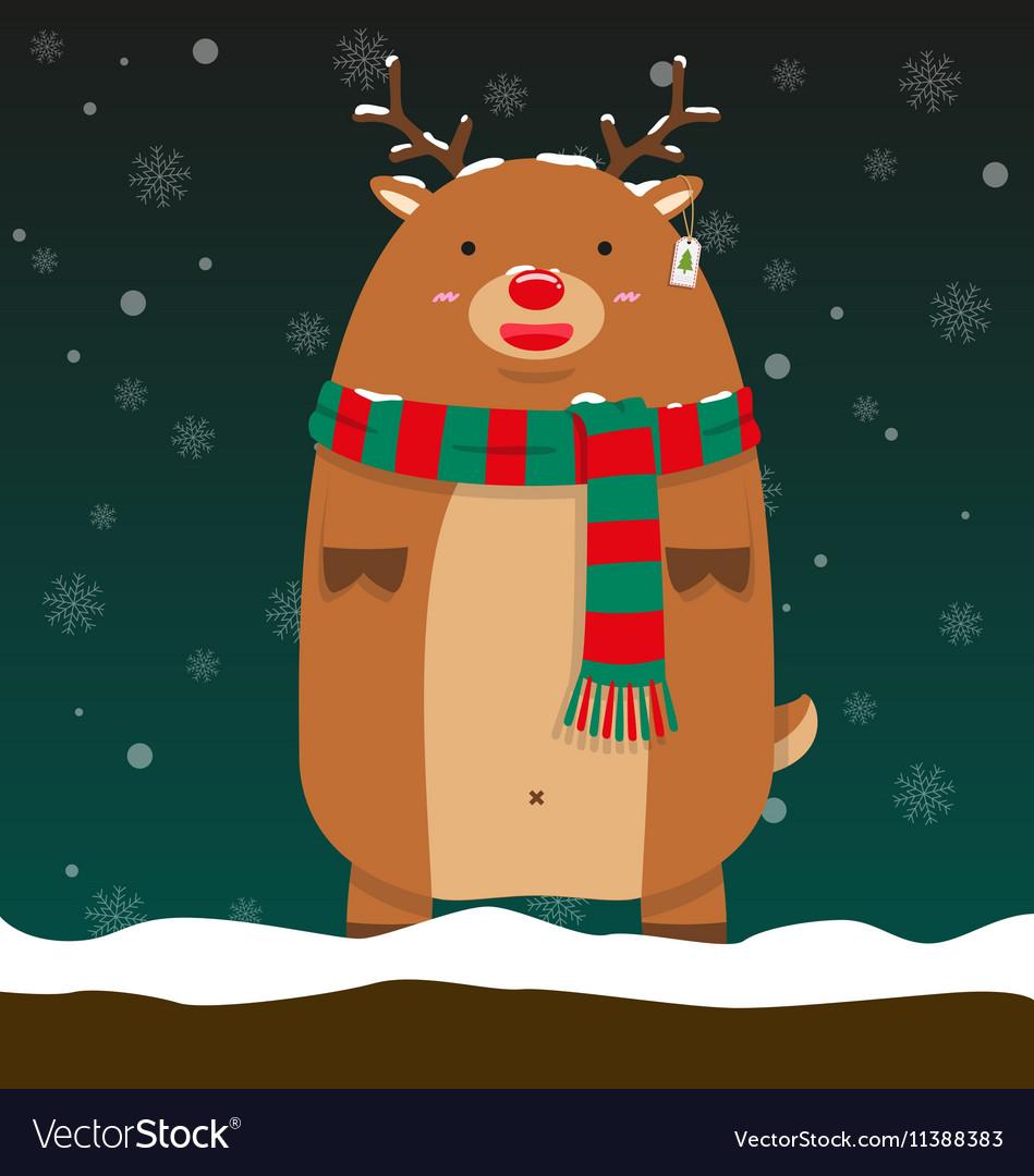 Cute fat big reindeer Rudolf stand