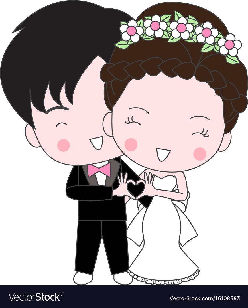 Cute Wedding Cartoon Royalty Free Vector Image