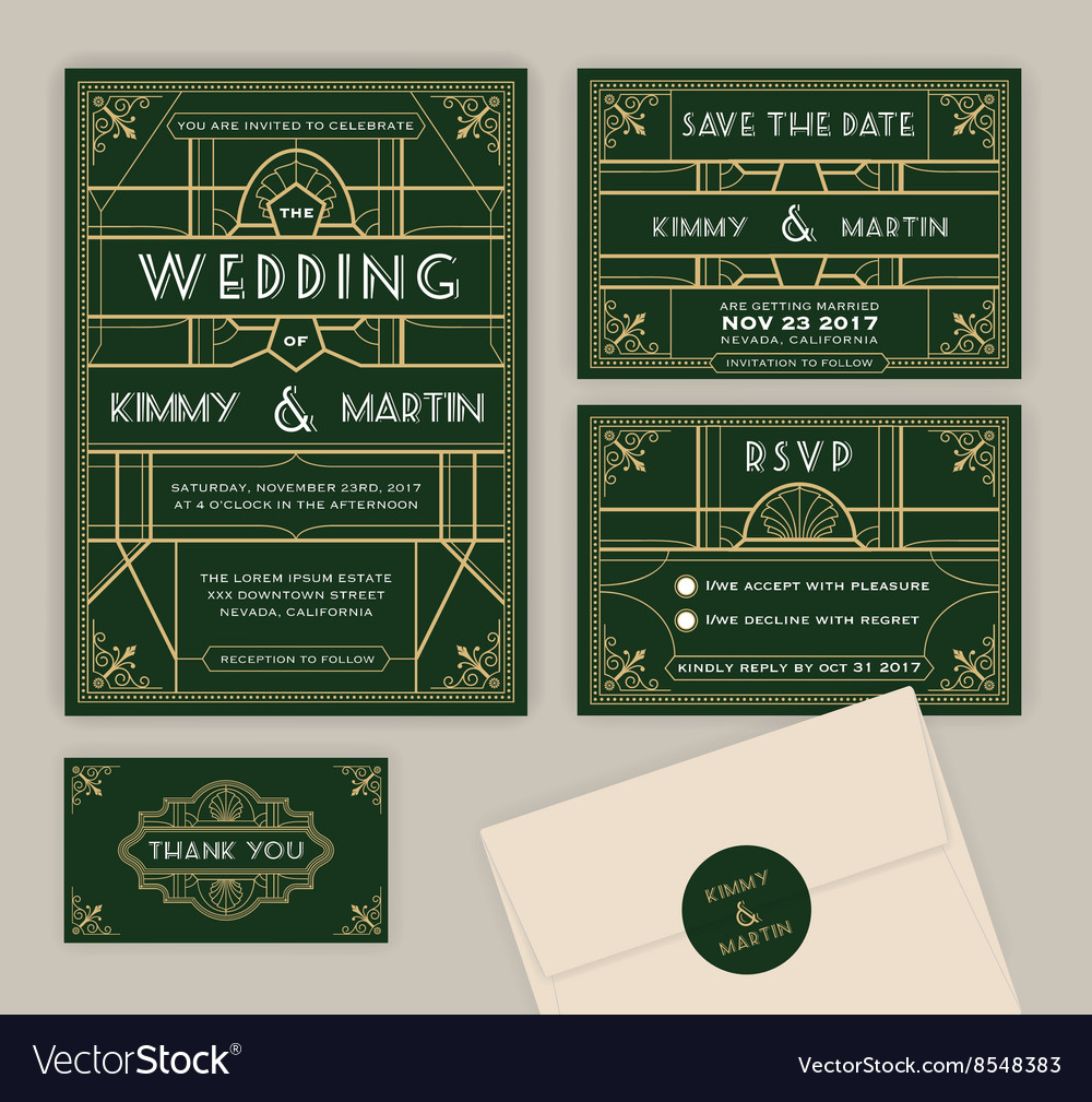 Emerald Green Art Deco Wedding Invitation Template