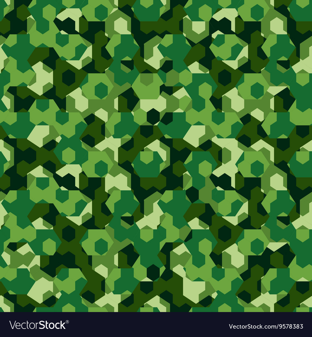 Forest camouflage geometric hexagon seamless