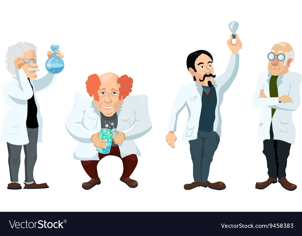 Four cute cartoon scientists characters isolated